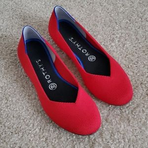 Rothy's red the flat ballet flats size 8 EUC